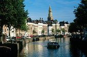 The Netherlands, Groningen, tour boat on canal