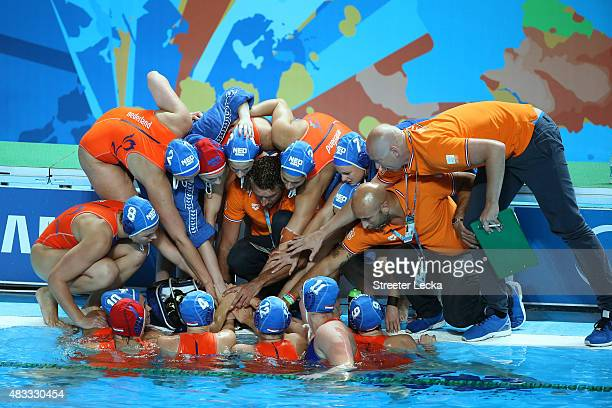 The Netherlands huddle up prior to thet start of the Women's gold medal match between the United States and the Netherlands on day fourteen of the...