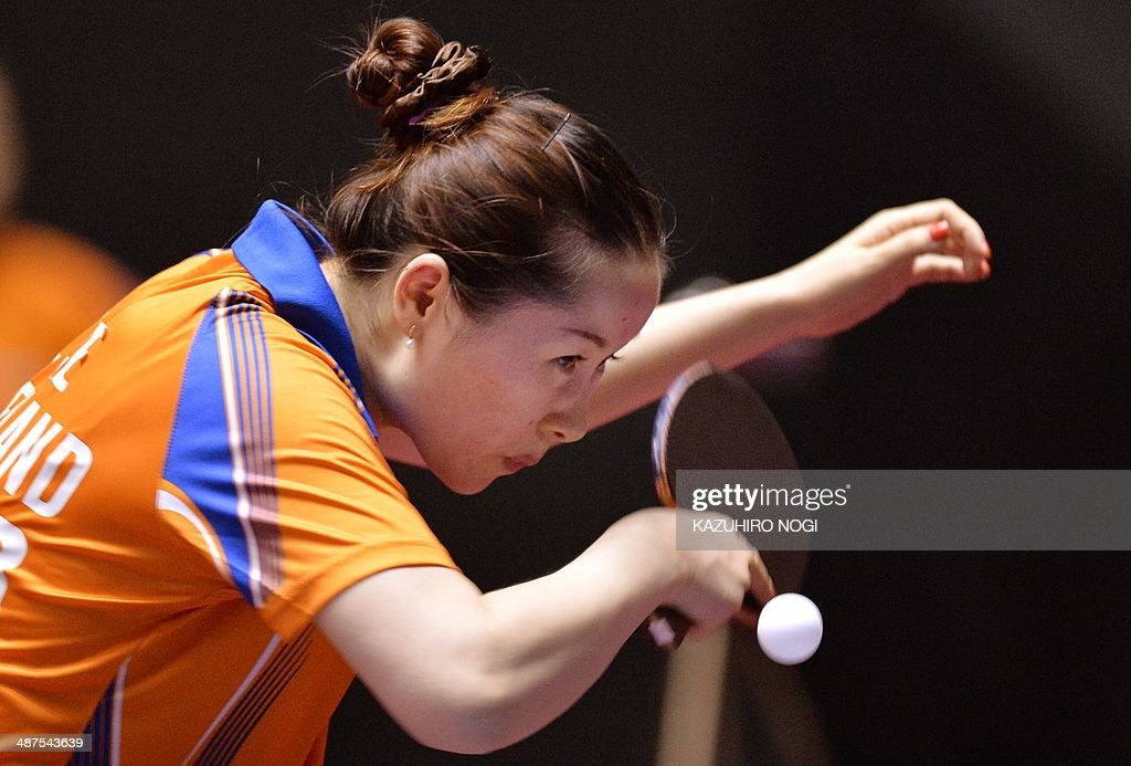 The Netherlands' Li Jie serves against Russia's Polina Mikhailova during their match in the women's team championship division group C at the 2014 World Team Table Tennis Championships in Tokyo on May 1, 2014.