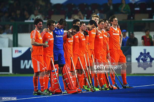 The Netherlands look on during the penalty shoot out during the match between Netherlands and India on day ten of The Hero Hockey League World Final...