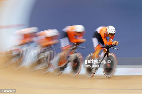 The Netherlands Men's Pursuit Team in action during the Team Pursuit Semi Finals on day one of the UCI Track Cycling World Cup at the Lee Valley...