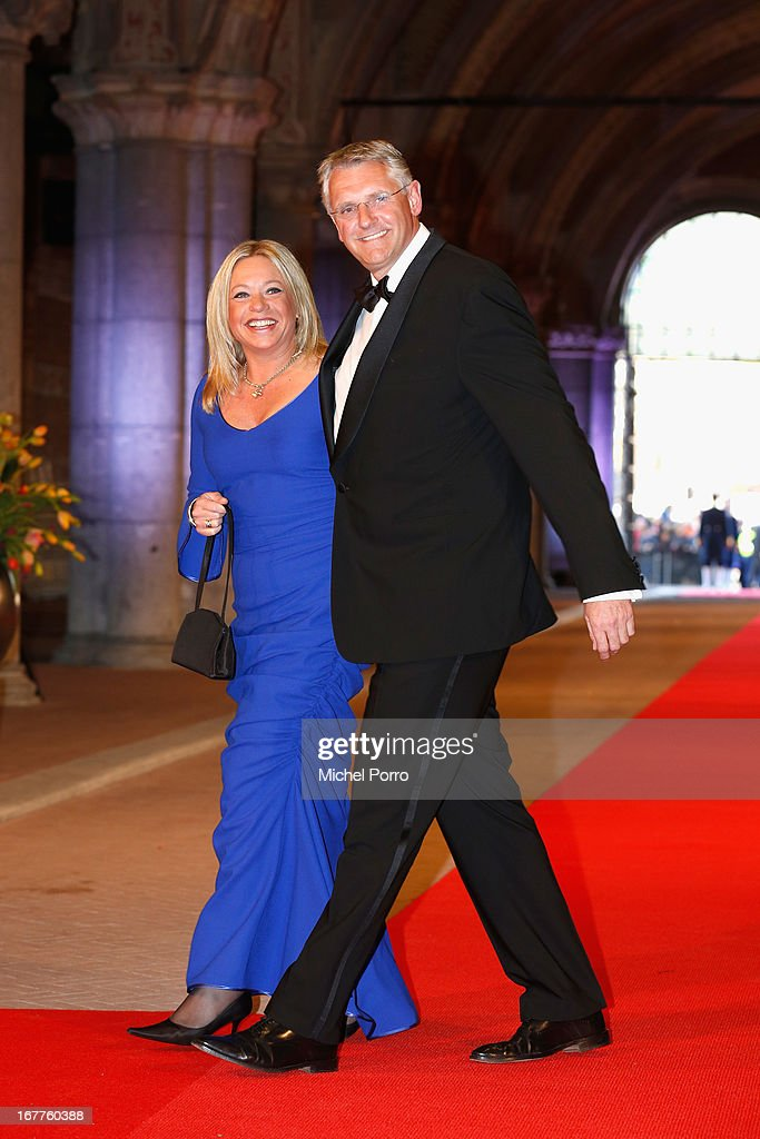 The Netherlands Minister of Defense Jeanine Antoinette Hennis-Plasschaert and her husband Erik-Jan Hennis attend a dinner hosted by Queen Beatrix of The Netherlands ahead of her abdication in favour of Crown Prince Willem Alexander at Rijksmuseum on April 29, 2013 in Amsterdam, Netherlands.