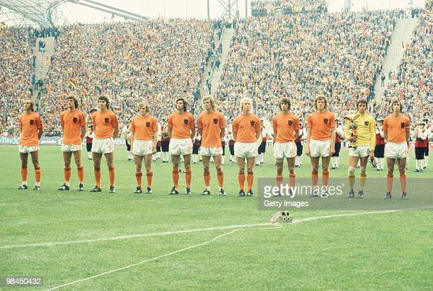 The Netherlands players line up before the 1974 FIFA World Cup final on 7 July 1974 played at the Olympiastadion in Munich Federal Republic of...
