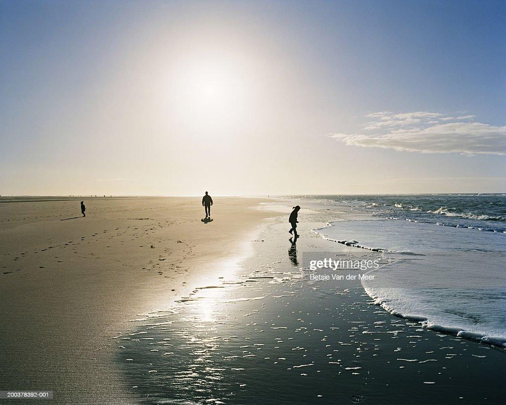 The Netherlands, South Holland, Maasvlakte, people on beach : Stock Photo