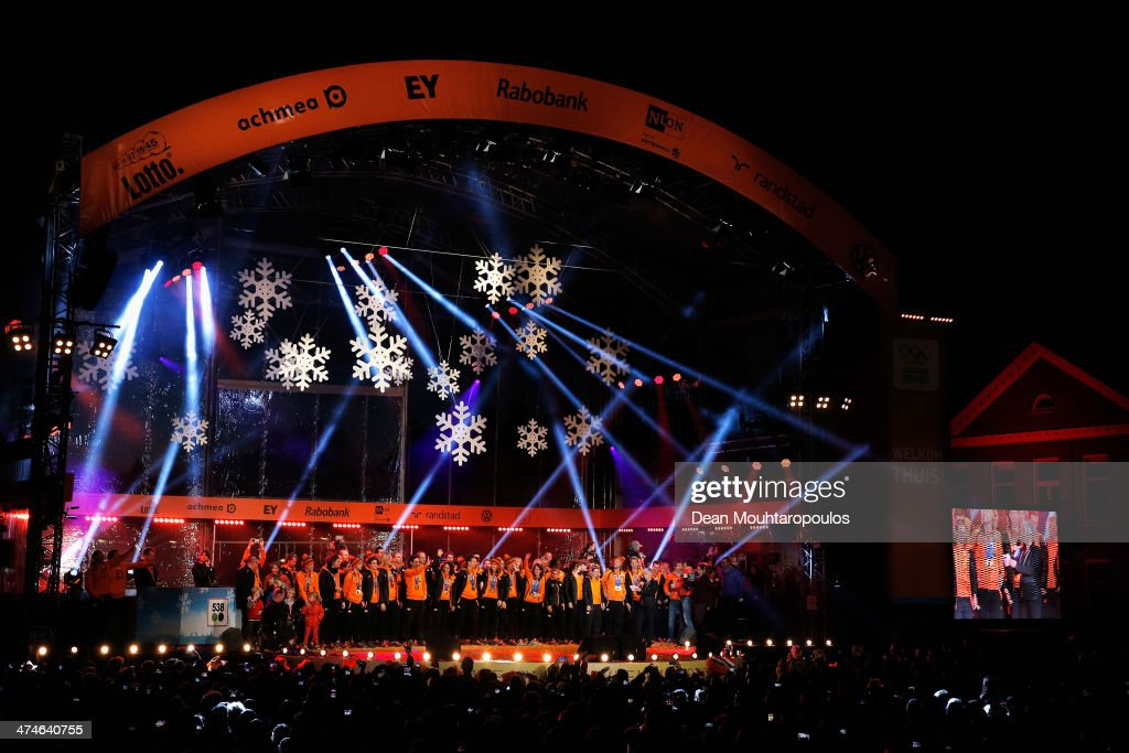 The Netherlands team celebrate on the main stage with Irene Wust in the centre during the Welcome Home Reception Held For Dutch Winter Olympic Athletes on February 24, 2014 in Assen, Netherlands.