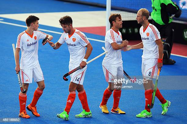 The Netherlands team celebrates scoring during the match between Russia and The Netherlands on day five of the Unibet EuroHockey Championships at Lee...