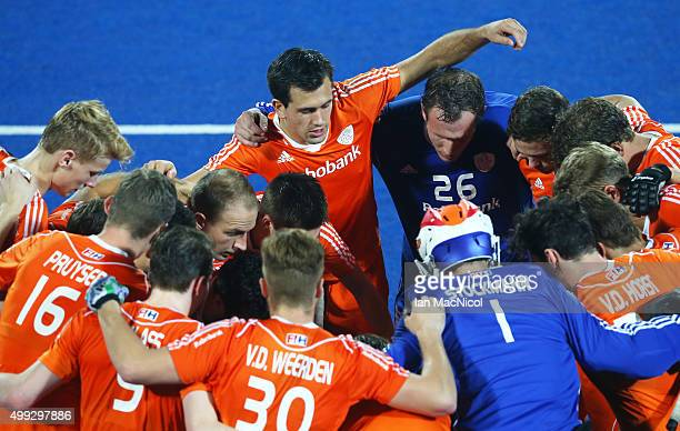 The Netherlands team huddle during the match between Netherlands and India on day four of The Hero Hockey League World Final at the Sardar Vallabh...