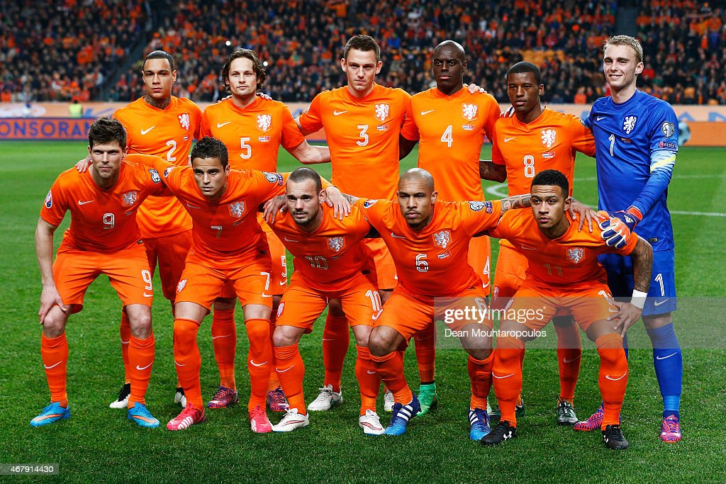 The Netherlands team line up for the UEFA EURO 2016 qualifier match bewteen the Netherlands and Turkey held at Amsterdam Arena on March 28 2015 in...