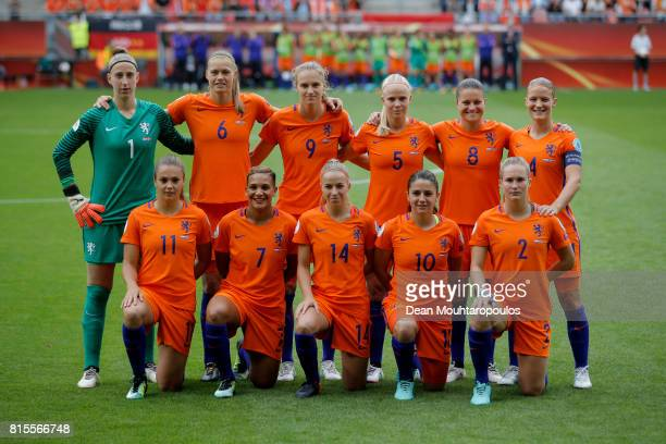 The Netherlands team lineup ahead of the Group A match between Netherlands and Norway during the UEFA Women's Euro 2017 at Stadion Galgenwaard on...