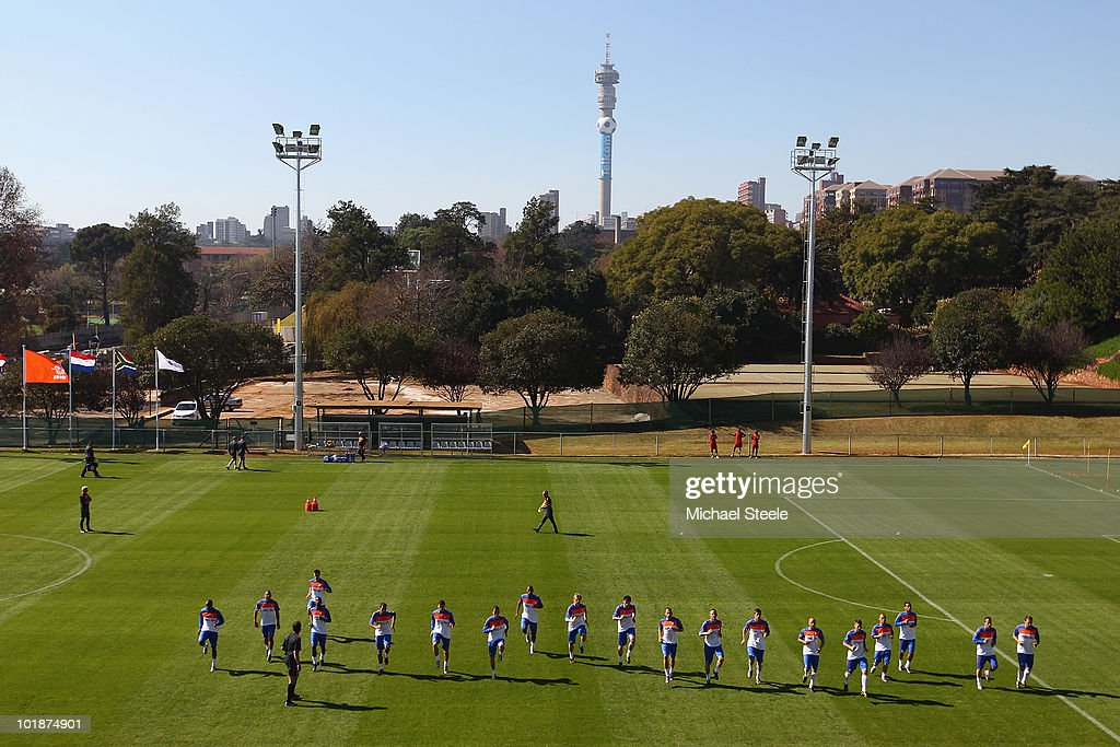 The Netherlands team warm up during a training session at the Wits Rugby Stadium on June 8, 2010 in Johannesburg, South Africa.