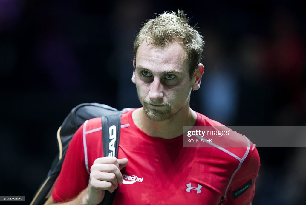 The Netherlands' Thiemo de Bakker reacts after losing his first round match against Croatia's Borna Coric at the ABN AMRO World Tennis Tournament in Rotterdam on February 8, 2016. / AFP / ANP / Koen Suyk / Netherlands OUT