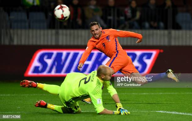 The Netherlands' Vincent Janssen shoots the ball during the FIFA World Cup 2018 qualification football match between Belarus and the Netherlands in...