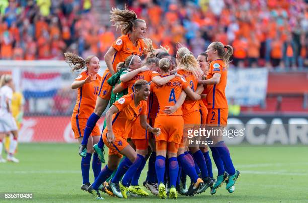 The Netherlands women celebrate winning after the UEFA Women's Euro 2017 final match between Denmark and Netherlands at De Grolsch Veste Stadium on...