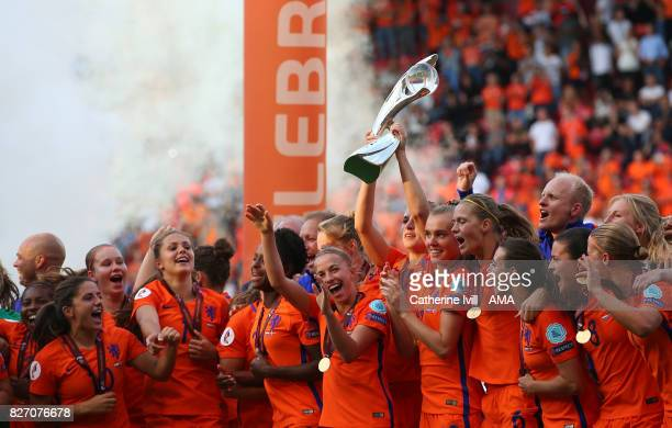 The Netherlands women celebrate with the trophy after the UEFA Women's Euro 2017 final match between Denmark and Netherlands at De Grolsch Veste...