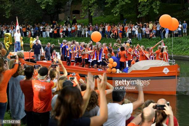 The Netherland's women's soccer team celebrate on a boat after winning the UEFA Women's Euro 2017 final soccer match between The Netherlands and...
