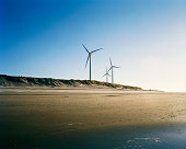 The Netherlands, Zeeland, Neeltje-Jans island, wind turbines