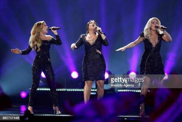 The Netherlands's representative for Eurovision 2017 O'G3NE performs on the stage during the GrandFinal of the Eurovision Song Contest in Kiev...