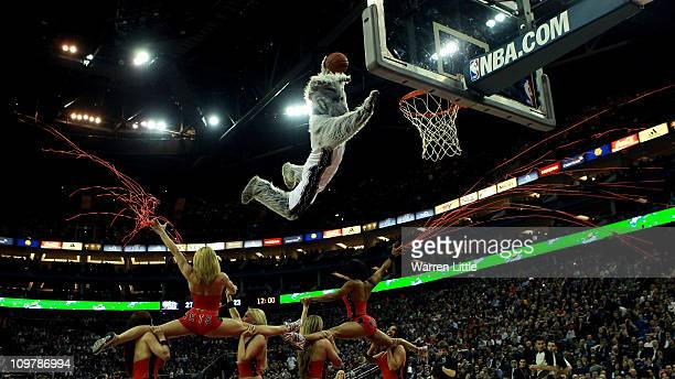 The Nets mascot makes a massive junk during an interval of the NBA match between New Jersey Nets and the Toronto Raptors at the O2 Arena on March 4...