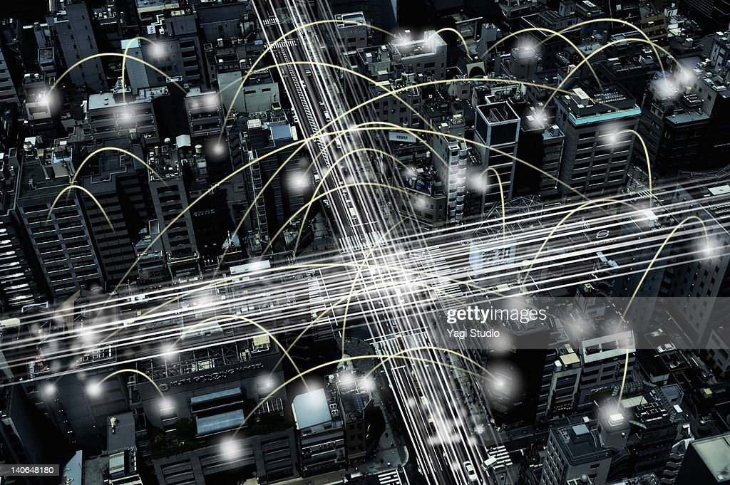 The network of the office building : Stock Photo