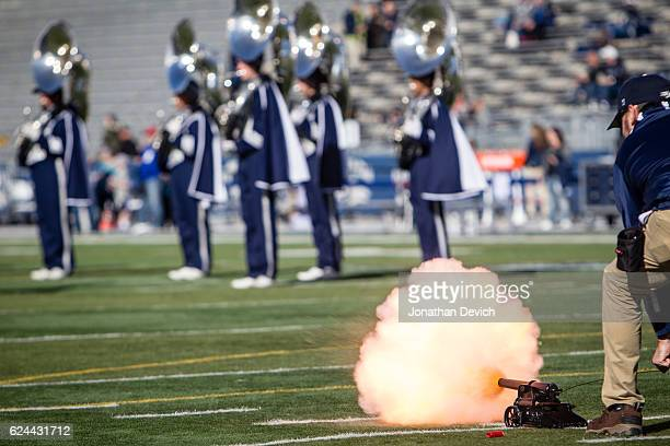 The Nevada Wolf Pack canon is fired at the beginning of the game against the Utah State Aggies at Mackay Stadium on November 19 2016 in Reno Nevada