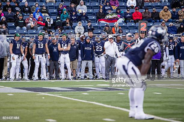 The Nevada Wolf Pack sideline watches a play against the the Utah State Aggies at Mackay Stadium on November 19 2016 in Reno Nevada