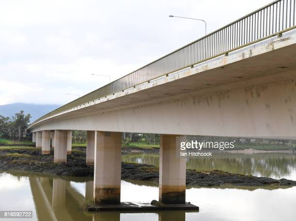 The 'Neville Hewitt' bridge is seen stretching across the Fitzroy river on July 09 2017 in Rockhampton Australia