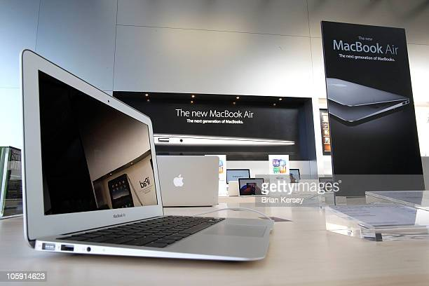 The new 11inch MacBook Air is displayed at the new Apple Store during a media preview on October 21 2010 in Chicago Illinois The new store opens on...