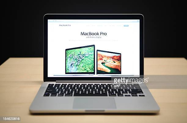 The new 13 inch Macbook Pro with a Retina display is seen during Apple's special event at the California Theatre in San Jose on October 23 2012 in...
