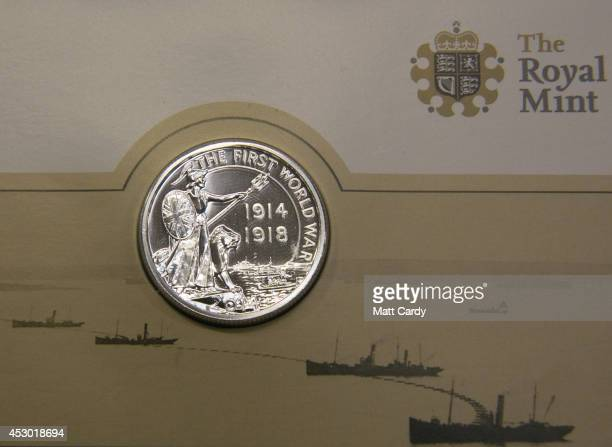 The new £20 silver coin made to commemorate one hundred years since the outbreak of the First World War seen at the Royal Mint on August 1 2014 in...