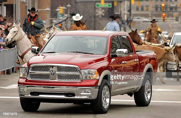 The new 2009 Dodge Ram pickup truck is revealed at the 2008 North American International Auto Show January 13 2008 in Detroit Michigan The NAIAS is...
