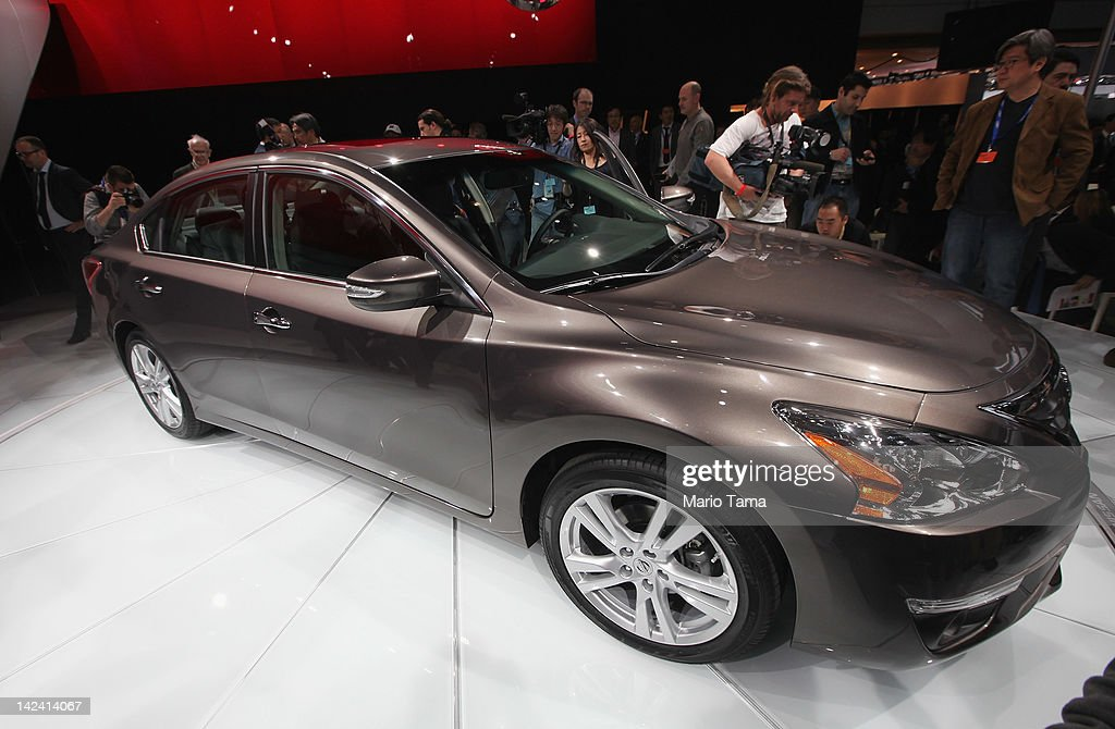 The new 2013 Nissan Altima is displayed at the New York International Auto Show at the Jacob Javits Convention Center on April 4 2012 in New York...