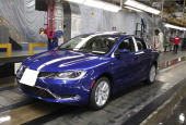 The new 2015 Chrysler 200 comes off the assembly line at the Sterling Heights Assembly Plant March 14 2014 in Sterling Heights Michigan The plant...