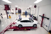 The new 2015 Chrysler 200 is shown in the Quality Assurance Center at the Sterling Heights Assembly Plant March 14 2014 in Sterling Heights Michigan...