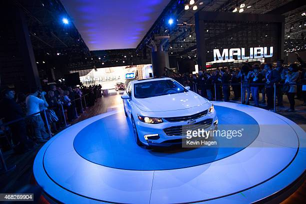 The new 2016 Chevrolet Malibu model is displayed at the New York International Auto Show at the Javits Center on April 1 2015 in New York City