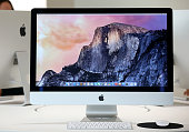 The new 27 inch iMac with 5K Retina display is displayed during an Apple special event on October 16 2014 in Cupertino California Apple unveiled the...
