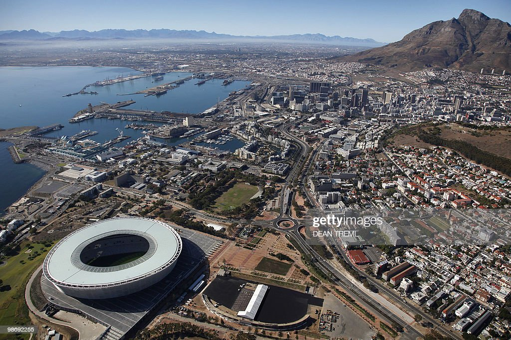 The new 70000 seat capacity Green Point Stadium for the FIFA Soccer World Cup in Cape Town on April 25 2010 AFP PHOTO/Dean TREML/HO RESTRICTED TO...