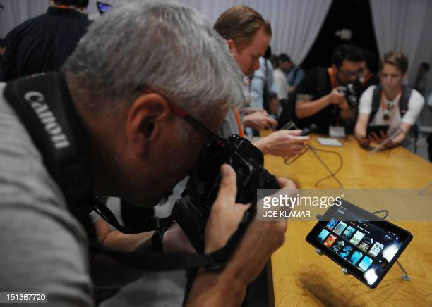 The new 7inch new tablet Kindle Fire HD Family introduced by Jeff Bezos CEO of AMAZON during the AMAZON press conference on September 06 2012 in...