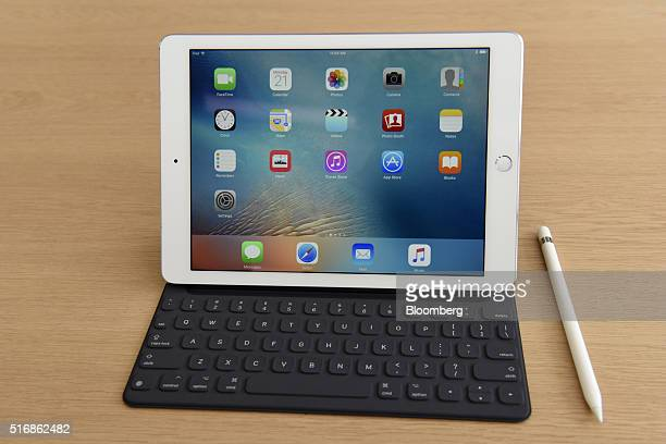The new 97 inch iPad Pro tablet computer and Apple Pencil are displayed after an event in Cupertino California US on Monday March 21 2016 Apple Inc...