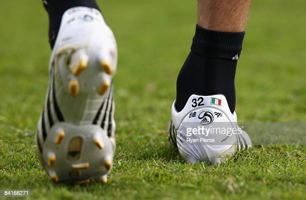 The new Adidas boots of David Beckham of AC Milan are seen during a training session during the AC Milan Winter Training Camp at the Al Nasr Sports...