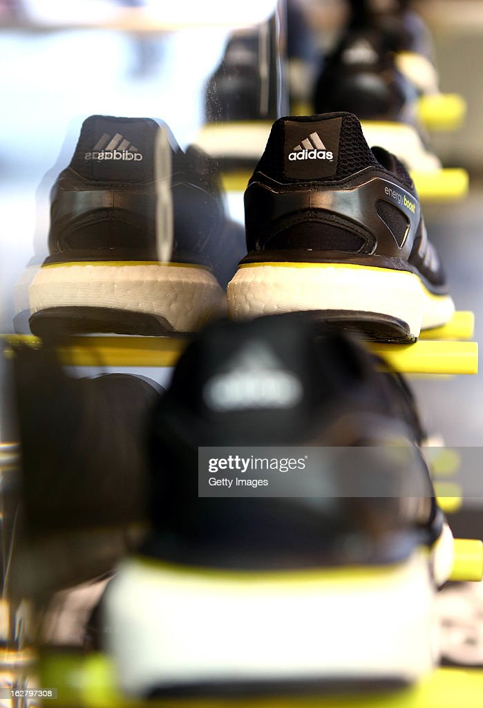 The new adidas Energy Boost is displayed during the adidas boost launch at the adidas store on Oxford Street on February 27, 2013 in London, England.