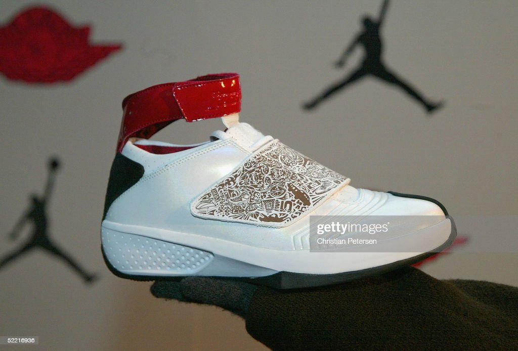 The new Air Jordan XX is displayed at the Air Jordan XX Launch Party at Rise Nightclub on February 18 2005 in Denver Colorado