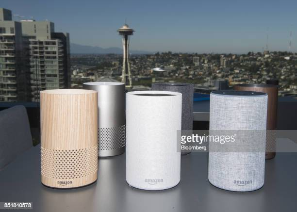 The new Amazoncom Inc Echo devices sit on display in front of the Seattle Space Needle during the company's product reveal launch event in downtown...