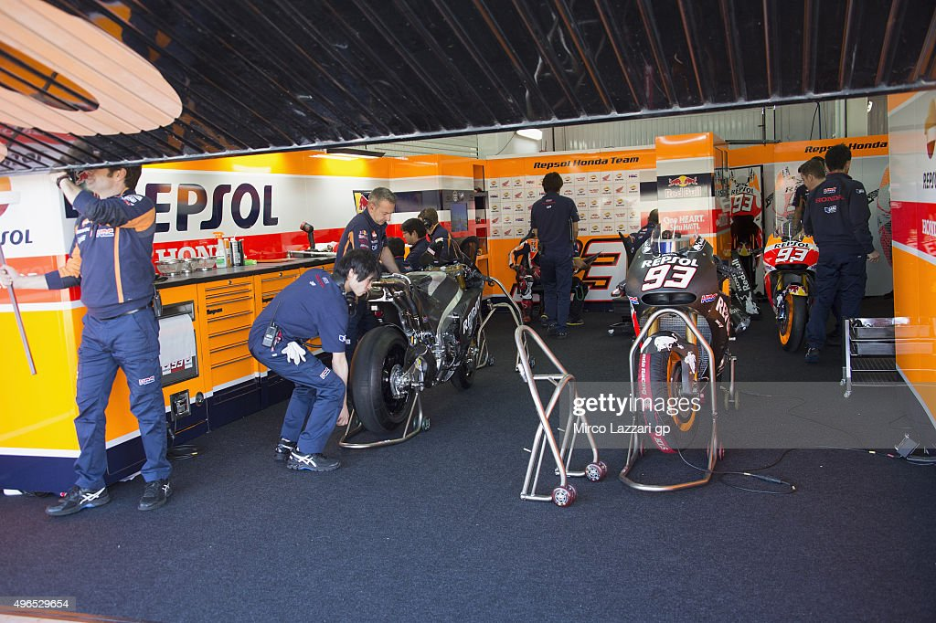 The new and old Honda bikes of Marc Marquez of Spain and Repsol Honda Team park in box during the first day of MotoGp Tests In Valencia at Ricardo...