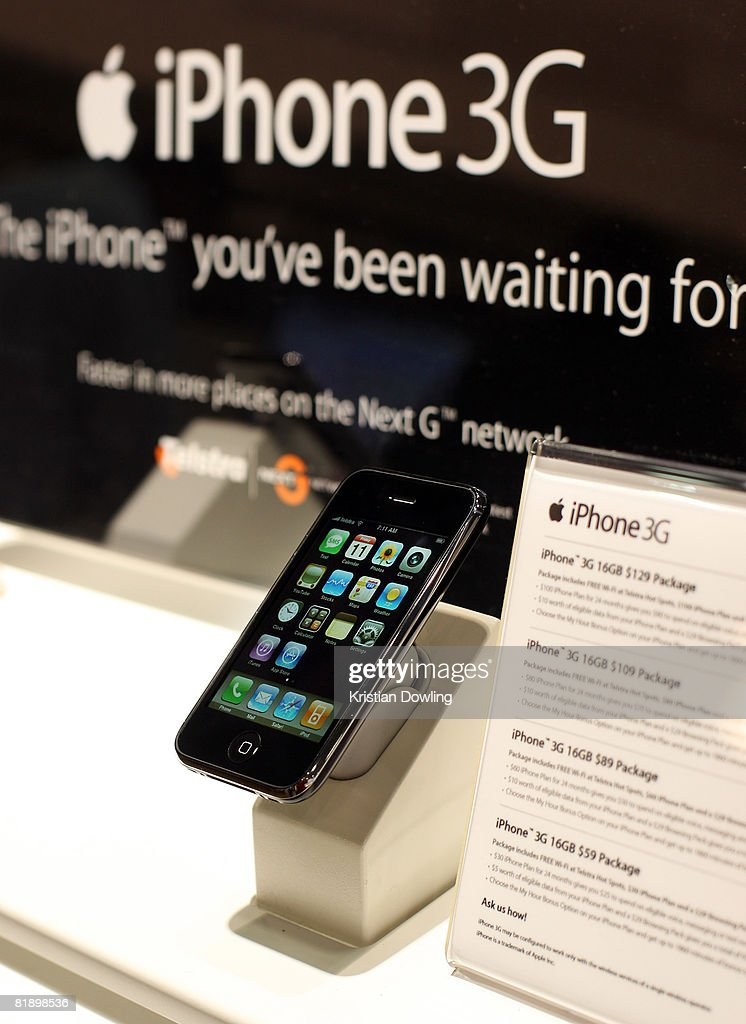 The new Apple iPhone 3G is seen on display at the Bourke Street T Life store on July 11, 2008 in Melbourne, Australia. Hundreds of people waited on line to be among the first to purchase the phone which is also a multimedia device that enables e-mail and web browsing.