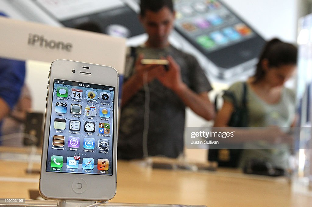 The new Apple iPhone 4Gs is displayed at an Apple store on October 14, 2011 in San Francisco, United States. The new iPhone 4Gs went on sale today and features a faster dual-core A5 chip, an 8MP camera that shoots 1080p HD video, and a voice assistant program.