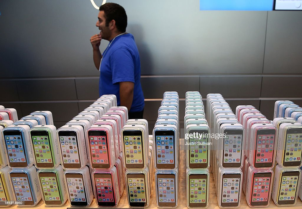 The new Apple iPhone 5C is displayed at an Apple Store on September 20, 2013 in Palo Alto, California. Apple launched two new models of iPhone: the iPhone 5S, which is preceded by the iPhone 5, and a cheaper, paired down version, the iPhone 5C. The phones come with a new operating system.