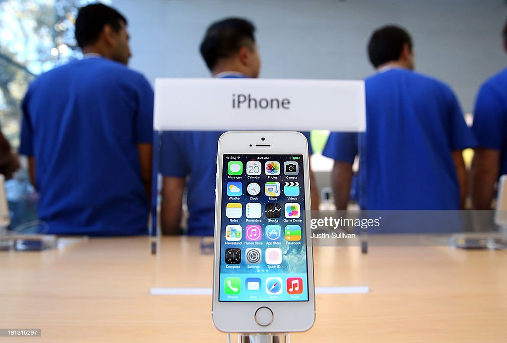 The new Apple iPhone 5S is displayed at an Apple Store on September 20, 2013 in Palo Alto, California. Apple launched two new models of iPhone: the iPhone 5S, which is preceded by the iPhone 5, and a cheaper, paired down version, the iPhone 5C. The phones come with a new operating system.