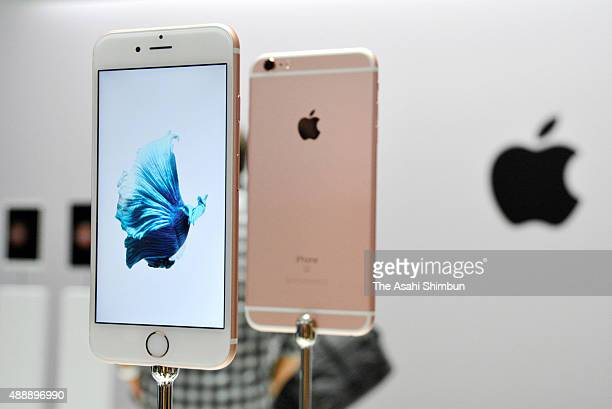 The new Apple iPhone 6 and 6s are seen in the demo area after an Apple special event at Bill Graham Civic Auditorium September 9 2015 in San...