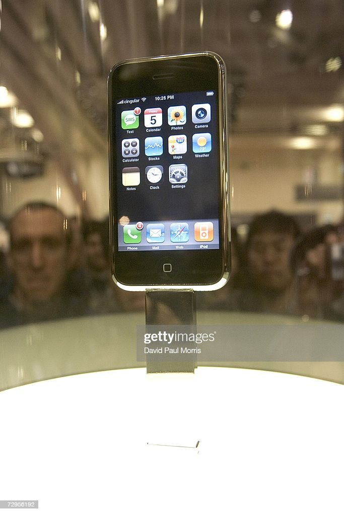 The new Apple iPhone is displayed at Macworld January 9, 2007 in San Francisco, California. The new iPhone will combine a mobile phone, a widescreen iPod with touch controls and a internet communications device with the ability to use email, web browsing, maps and searching. The iPhone will start shipping in the U.S. in June, 2007.