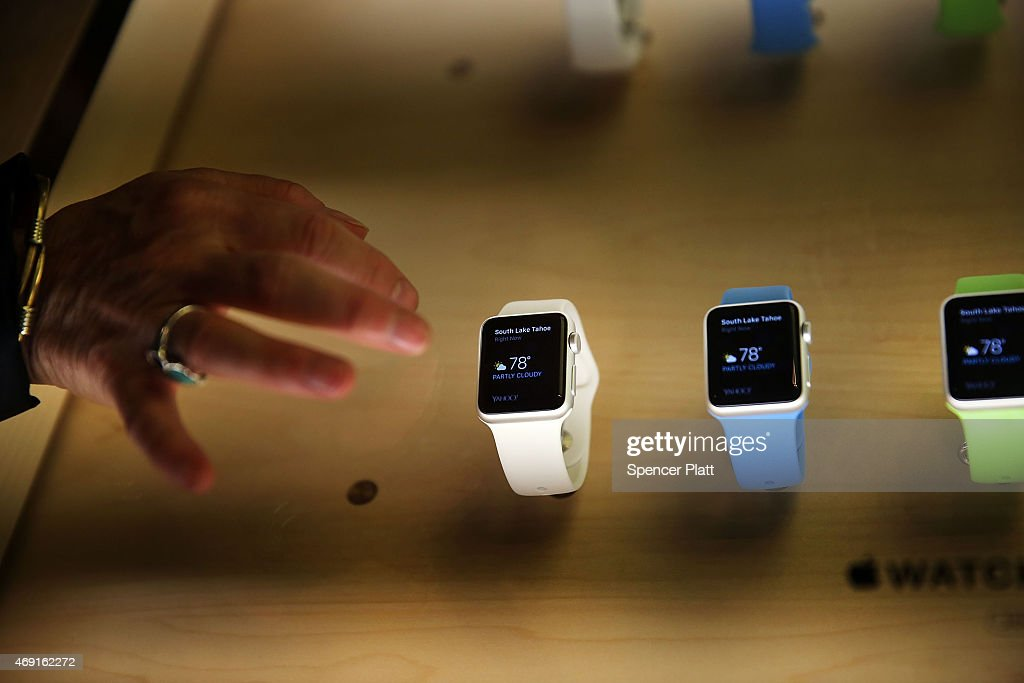 The new Apple Watch is viewed at an Apple store in Manhattan on April 10, 2015 in New York, New York. Consumers around the world were able to try on the long awaited smartwatch on Friday and to place orders. On April 24, consumers will be able to buy it online or by appointment in select stores. The Apple Watch sport starts at $349 with the standard version retailing at $549 in the U.S. Luxury 'Edition' watches with 18-karat gold alloys will be priced from $10,000 and will go as high as $17,000.